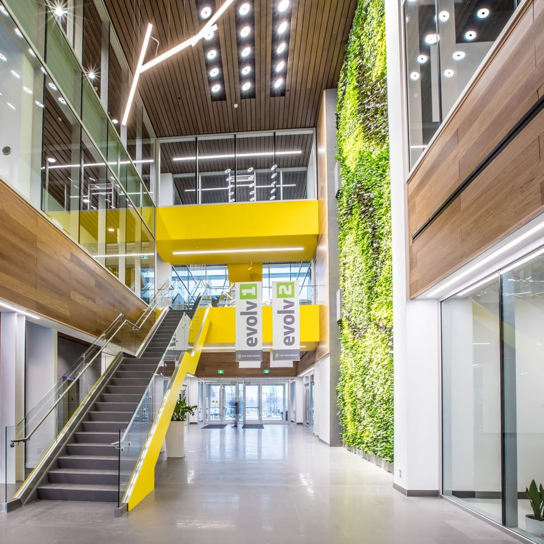 Large yellow staircase in the front lobby of HealthHub's R&D Innovation head office