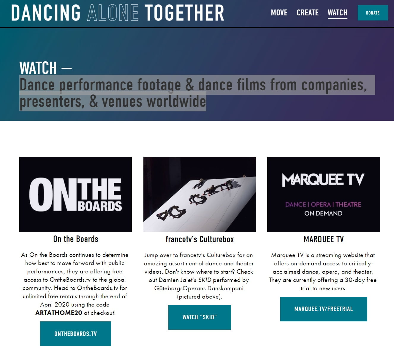 Dance Alone Together - Patient Resource Page