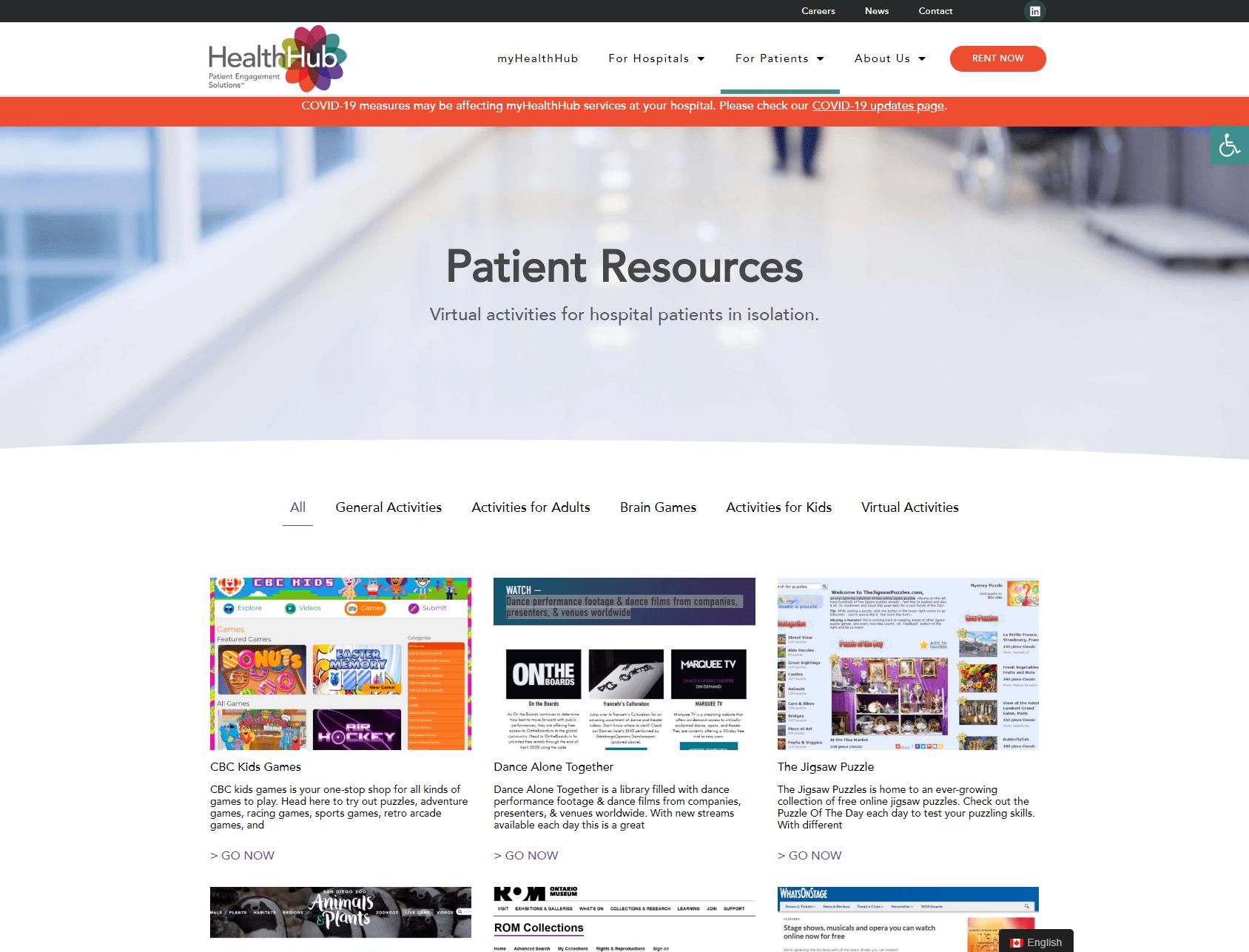 Patient Resources Screenshot